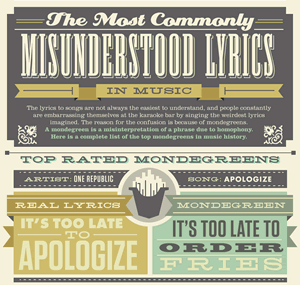 Infographic The Most Commonly Misunderstood Lyrics In Music
